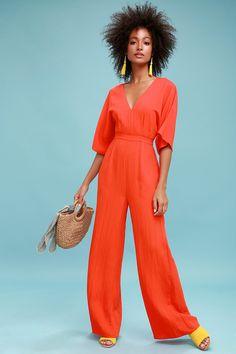 a17c89e17c3 Chic La Vie Coral Red Wide-Leg Jumpsuit