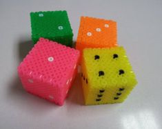 "Handmade items/Perler fuse beads/Interior decoration/Collector's items/Storage accessory/Small Box/Unisex item/""Dice"""