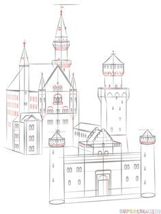 Drawing Tutorials For Kids, Drawing For Beginners, Drawing Tips, Perspective Drawing Lessons, Perspective Sketch, Castle Drawing Easy, Pirate Ship Drawing, Castle Sketch, Architecture Drawing Art