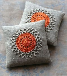 Items similar to Lavender sachets -- crochet motif -- set of 2 -- orange on Etsy Crochet Home, Love Crochet, Crochet Crafts, Crochet Projects, Knit Crochet, Sewing Projects, Crochet Cushions, Crochet Pillow, Pin Cushions