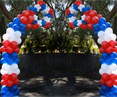 Patriotic Shooting Star Balloon Arch! Happy Fourth of July!