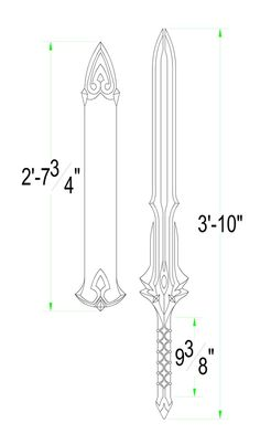 Fire Emblem Fates: Siegfried Template by Solvash Cosplay Weapons, Ninja Weapons, Cosplay Armor, Knife Patterns, Wood Carving Patterns, Fantasy Sword, Fantasy Weapons, Chinese Broadsword, Tactical Swords