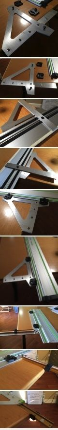 """FS Guide Rail T-Square - latest creation Been fiddling with my latest gadget, a heavy duty t-square attachment for a FS guide rail. It's made of 1/4"""" 6061 aluminum, cut on a water jet (I think) and the 90 degree leg is 450mm (~16""""). It should have the same level of accuracy as the large (450/600MM) woodpecker's square."""