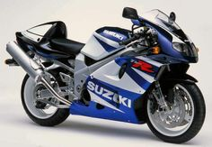 """Suzuki TL 1000 R blue white.  This is a v-twin sport bike. It was nicknamed """"The Widowmaker"""" because of the number of rider deaths it caused in racing competitions due to the unusual F1-inspired suspension setup that was unpredictable to seasoned riders."""