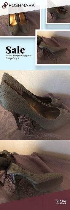 Selling this Jessica Simpson Sz.9.5 Gray peep-toe Pumps on Poshmark! My username is: lisalisa001. #shopmycloset #poshmark #fashion #shopping #style #forsale #Jessica Simpson #Shoes