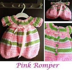 Lollipop Romper, 0-3 months, free pattern