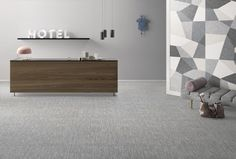 Textile Porcelain Tile in Grey (floor) and Mix (wall)