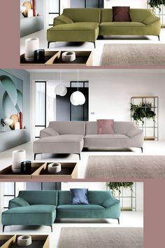 Weniger Schnörkel, mehr Konzentration auf das Wesentliche: Diese Eckcouch für moderne Wohnzimmer steht unbeschwert auf pulverbeschichteten Metallfüßen und sie glänzt durch ihre sanften Polsterformen. Couch und Kissen sind in unzähligen Bezugsvarianten erhältlich. Stellmaß 166 x 281 cm, Höhe 45 cm, Sitzhöhe 45 cm, Sitztiefe 57 cm (alles ca.-Maße) Elegant, Modern Living, Furniture, Home Decor, Modern Living Rooms, Living Room Modern, Modern Home Design, Minimalist Design, Minimalism
