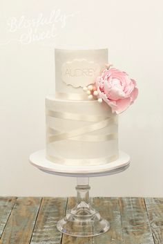 Two tier cake with peony and ribbon detail - Blissfully Sweet
