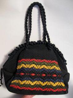 Vintage Black Very Ornate  Woven Nylon Purse - handbag  $18.00   #craftshout03/19