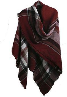 f0ddb53a004df Fashion Unisex Winter Tartan Blanket Scarf Oversized Shawl (Burgundy)  Tartan Blanket Scarf, Red