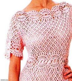 Uncinetto d'oro: Bellissimo e semplice abito rosa!!!