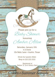 441 best horse baby shower invitations images on pinterest baby rocking horse baby shower invitation rustic invite white filmwisefo
