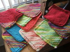 DISHCLOTH/BLANKET  Materials: Sugar and Cream yarn; Size 6 or 7 needles (US) Instructions:  Cast on 4 stitches Row 1: Knit 4 Row 2: Knit 2, yarn over, knit across the row. Repeat Row 2 until you have 44 stitches on the needle. Row 3: Knit 1, Knit 2 together, yarn over, knit 2 together, knit to the end of the row. Repeat Row 3 until you have 4 stitches on the needle. You can now either bind off or do a round of single crochet and make a little loop of chain stitches in one corner.