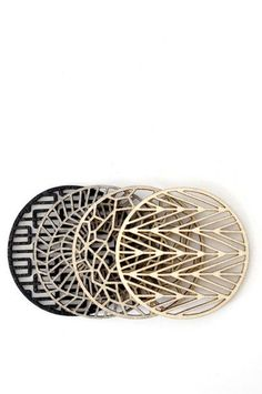 Geometric patterned coasters in natural colorway.  Set is gift-boxed.  Handmade in San Francisco #home #decor #accessories