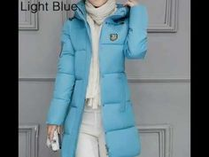 Winter Jacket Women Long Warm 90 Cotton Parka Down Jackets Fashion Zipper Coat Women's Solid Color H