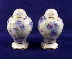 Royal Albert Salt Pepper Set Blue Pansy Chintz Bone China England Vtg Gold Trim #RoyalAlbert #Pansy