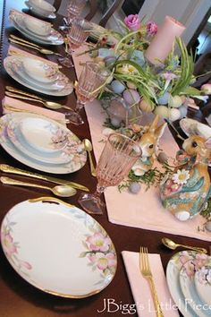 This could be a fun way to use mix and match vintage/antique dishes in pastel hues.