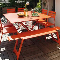 "51"" x 51"" Fermob Cargo Folding Table      The 51-inch x 51-inch Cargo Folding Table by Fermob is a classic French folding table made from lacquered steel for durability, beauty and enjoyment for years. These metal folding tables are reminiscient of the restaurants and cafes throughout Europe and will look beautiful on any patio or deck as well as inside. Combine a Fermob bistro table with a pair of folding chairs for the perfect bistro set."