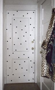 I'm thinking about doing gold dots on Lous door as well. But I don't want to have to buy a new door when we sell the house haha