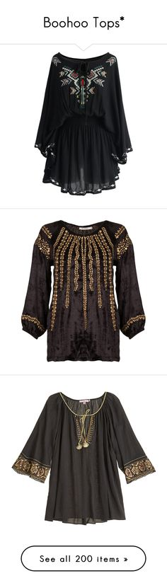 """""""Boohoo Tops*"""" by ywett01 ❤ liked on Polyvore featuring black dress, chicwish dress, dresses, tops, black, blouses, black loose top, velvet blouse, black blouse and black embellished top"""