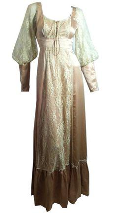 Gauntlet Sleeve Corset Lace Moss Crepe Festival Gown circa 1970s Gunne - Dorothea's Closet Vintage
