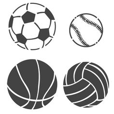 Sports ball Stencils - Baseball Soccer ball Basketball Volleyball Stencil