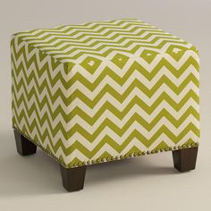 Featuring a grassy green and ivory chevron print, our plush, custom-made ottoman is handcrafted in the U. with cotton upholstery and nail trim. Living Room Accents, Living Room Chairs, Living Rooms, Upholstered Ottoman, Chair And Ottoman, Home Furniture Shopping, Patchwork Chair, Slipper Chairs, Ideas