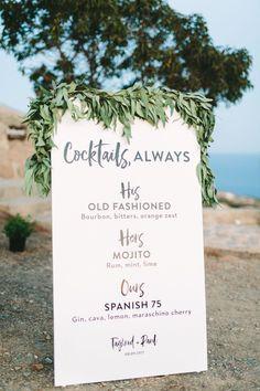 signature drink sign, bohemian wedding signage   Photography: Vasilis Kouroupis