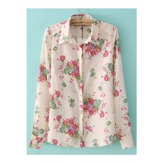 SheIn(sheinside) Multicolor Lapel Long Sleeve Floral Blouse featuring polyvore, fashion, clothing, tops, blouses, multi color, pink top, colorful blouses, floral print top, flower print top and slimming tops