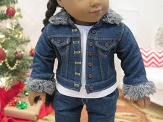 Dark denim jacket with fur collar by RainbowLilyDesigns on Etsy. Made following the Denim Jacket pattern. Find it here http://www.pixiefaire.com/products/denim-jacket-18-doll-clothes. #pixiefaire #denimjacket