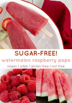 Easy, refreshing SUGAR-FREE popsicles! Made with whole fruit, just blend and pour to enjoy these sugar-free pops with watermelon and raspberry! Sugar Free Vegan Desserts, Healthy Vegan Desserts, Sugar Free Recipes, Healthy Dessert Recipes, Vegan Recipes Easy, Whole Food Recipes, Healthy Popsicle Recipes, Vegetarian Recipes, Diabetic Desserts