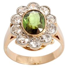 Victorian Chrysoberyl & Diamond Cluster Ring | From a unique collection of vintage cluster rings at https://www.1stdibs.com/jewelry/rings/cluster-rings/