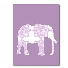 Damask Elephant  in purple  Fine Art Print Nursery wall by ialbert