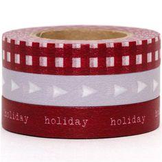 grey & red Washi Masking Tape tape set 3pcs holiday