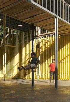 SchilderScholte_Pani school community center_Rajarhat_Bangladesh_swing_bamboo facade