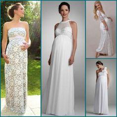 Vestidos de Noivas Grávidas Vestidos soltinhos com faixas ou costuras em baixo do seios são perfeitos para grávidas, pois dá um belo toque de delicadeza e valoriza muito a barriguinha!