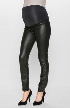 Paige Denim 'Verdugo' Ultra Skinny Maternity Jeans (Black Coated) available at #Nordstrom