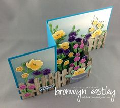 birds' eye view of Z-Fold card with a garden full of flowers from JAR OF LOVE stamp set ... luv how she make a brown picket fence to hld the all in .... card on addinktive designs blog ... Stampin' Up!