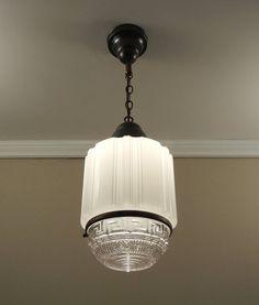Antique Art Deco Pendant Light Vintage by VintageGlassLights