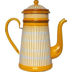 French Graniteware Drip Coffee Pot Biggin - Bright YELLOW Enamel found at www.rubylane.com @rubylanecom