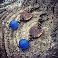 Boho Earrings, Blue Cat's Eye and Brass Earrings, Custom Buffalo Jewelry, Bright Blue and Brass Earrings, Bohemian Earrings, Statement Piece