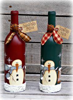 Items similar to Primitive Snowman Wine Bottle ~ Snowman Decor ~ Christmas Decor ~ Winter Decor ~ Snowmen ~ Christmas Gift ~ Painted Wine Bottle on Etsy Glass Bottle Crafts, Wine Bottle Art, Painted Wine Bottles, Lighted Wine Bottles, Diy Bottle, Decorated Bottles, Wine Glass, Beer Bottle, Vintage Bottles