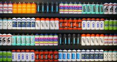 """A pro bottle collection. """" Do all of these teams really us the same bottle, just with different color schemes? Water Bottle Design, Bicycle Art, Bike Run, Cycling Outfit, Custom Design, Water Bottles, Plastic, Drink, Clothing"""
