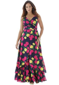 It's back to glamour in our beautiful printed plus size maxi dress with bust-flattering empire waistband and surplice front! #fashion #style #spring