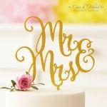 Cake topper Hochzeit Mr & Mrs (Mann & Frau), gold glitzer