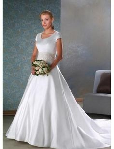A-Line/Princess Scoop Cathedral train  wedding dress for brides 2010 Style(WDA1644