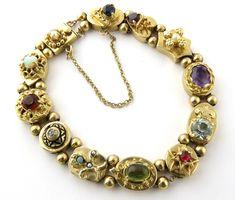 Vintage 14K Yellow Gold Slide Charm Bracelet with Multiple Gemstones and Diamonds #155