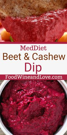 Yummy and easy vegan Mediterranean diet appetizer recipe for Easy Beet and Cashew Dip