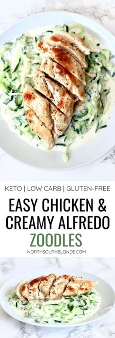 Easy Chicken and Creamy Alfredo Zoodles (Low Carb Keto Gluten-Free) The easiest and healthiest dinner you can make! Zoodles aka zucchini noodles are the best dinner alternative to pasta being keto friendly and low in carbs so you can lose the weight. Healthy Gluten Free Recipes, Healthy Recipes For Weight Loss, Healthy Dinner Recipes, Low Carb Recipes, Diet Recipes, Chicken Recipes, Gluten Free Weight Loss, Gluten Free Recipes With Chicken, Gluten Free Lunches